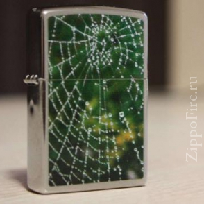 Zippo Brushed Chrome Spider Web Rain Drops Zippo Brushed Chrome Spider Web Rain Drops 28285