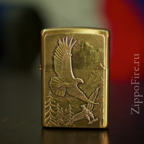 Zippo Brushed Brass Where Eagles Dare Emblem Zippo Brushed Brass Where Eagles Dare Emblem 20854