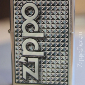 Zippo Brushed Chrome 3D Abstract Emblem Zippo Brushed Chrome 3D Abstract Emblem 28280