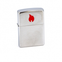 Zippo Brushed Chrome Zippo Brushed Chrome 200 Red Flame