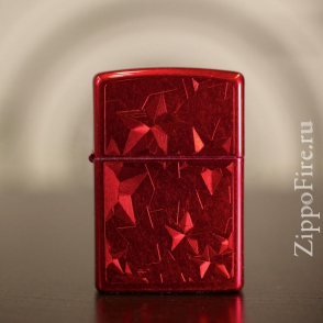 Zippo Candy Apple Red Iced Stars Zippo Candy Apple Red Iced Stars 28339