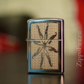 Zippo High Polish Chrome Flower Engraved Zippo High Polish Chrome Flower Engraved 24852