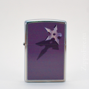 Zippo Brushed Chrome Star and Shadow Zippo Brushed Chrome Star and Shadow 28030