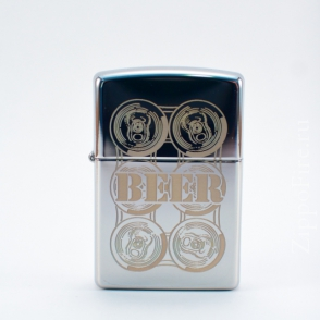 Zippo High Polish Chrome BEER Zippo High Polish Chrome BEER 24720