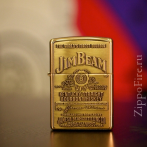 Zippo High Polish Brass Jim Beam Emblem Zippo High Polish Brass Jim Beam Emblem 254BJB.929