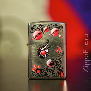 Zippo Brushed Chrome Stars and Planets Zippo Brushed Chrome Stars and Planets 28056