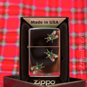 Zippo High Polish Chrome Flies Zippo High Polish Chrome Flies 24881