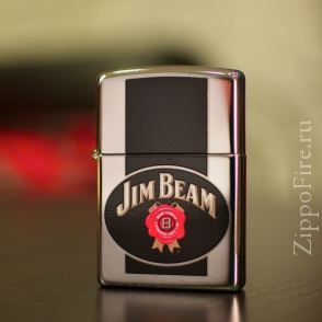 Zippo High Polish Chrome Jim Beam Zippo High Polish Chrome Jim Beam 28071