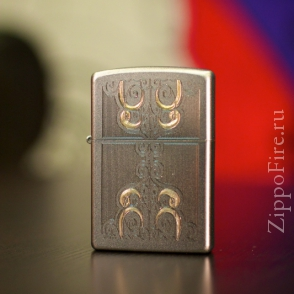 Zippo Satin Chrome Gold Scrolled Water Zippo Satin Chrome Gold Scrolled Water 24906