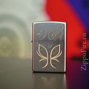 Zippo Satin Chrome Golden Butterfly Zippo Satin Chrome Golden Butterfly 24339