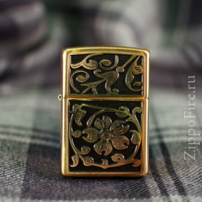Zippo Brushed Brass Gold Floral Flush Emblem Zippo Brushed Brass Gold Floral Flush Emblem 20903