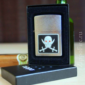 Zippo Brushed Chrome Piercing Pirate Eye Emblem Zippo Brushed Chrome Piercing Pirate Eye Emblem 20881