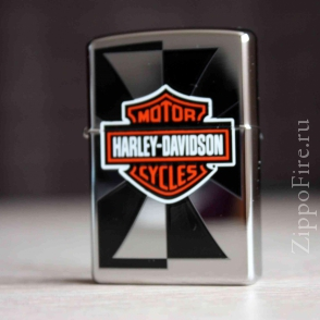 Zippo High Polish Chrome Harley Davidson Reflection  Zippo High Polish Chrome Harley Davidson Reflection  24024