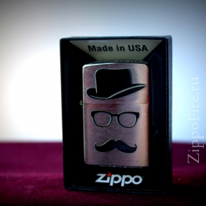 Zippo Brushed Chrome Moustache and hat Zippo Brushed Chrome Moustache and hat 28648