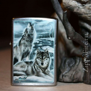Zippo Brushed Chrome Сlaudio Mazzi Winter Howling Wolves Zippo Brushed Chrome Сlaudio Mazzi Winter Howling Wolves 28002
