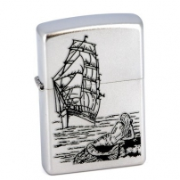 Zippo Satin Chrome 205 Mermaid  Zippo Satin Chrome 205 Mermaid  205 Mermaid