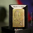 Zippo Brushed Brass Where Eagles Dare Emblem 20854 - 2