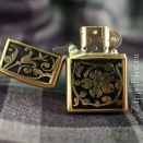 Zippo Brushed Brass Gold Floral Flush Emblem 20903 - 1