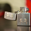 Zippo Satin Chrome Gold Scrolled Water 24906 - 1