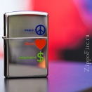 Zippo High Polish Chrome Peace. Love. Prosperity 24714 - 1