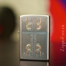 Zippo Satin Chrome Gold Scrolled Water 24906 - 3