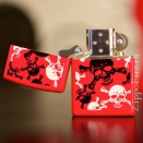 Zippo Red Matte Skull and Crossbones 24471 - 1