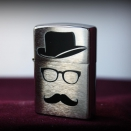 Zippo Brushed Chrome Moustache and hat 28648 - 1
